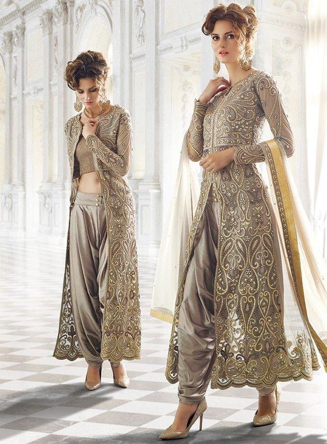 ddf69e2874 English Grey Heavy Embroidered Jacket Style Salwar Suit. English Grey Heavy  Embroidered Jacket Style Salwar Suit Designer Suits Online, Indian ...