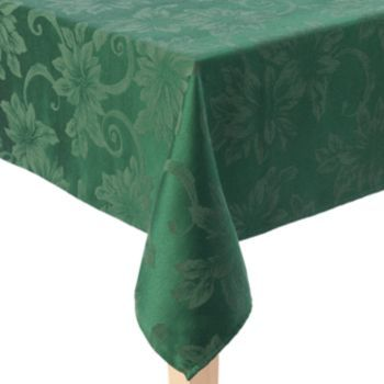 St Nicholas Square Green Poinsettia Tablecloth 90 Round