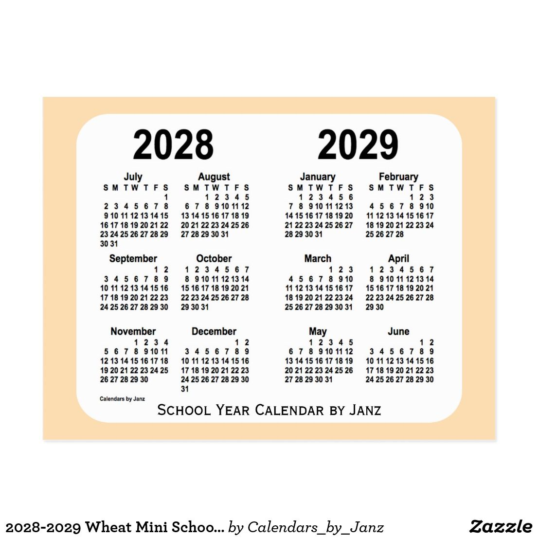 2028 2029 Wheat Mini School Calendar By Janz Postcard Zazzle Com