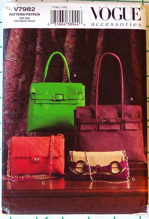 8b1c9b794b3b Vogue 7982 Rare Sewing Pattern v7982 Hermes Style Birkin Kelly ...