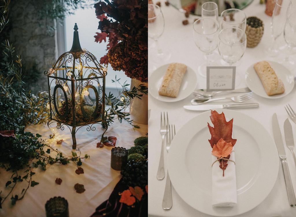 Déco automnale pour réception de mariage, nature, feuilles mortes, ambiance forêt enchantée