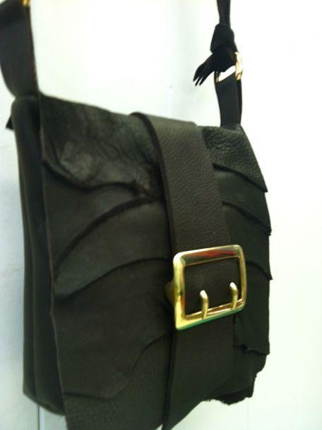 LeatherHideStore customer-created raw edge cross-body with brass double buckle detail, www.momentumhandbag.com