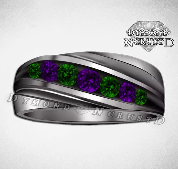 Mens Joker Inspired Black Rhodium or Black Gold 135Cts Purple