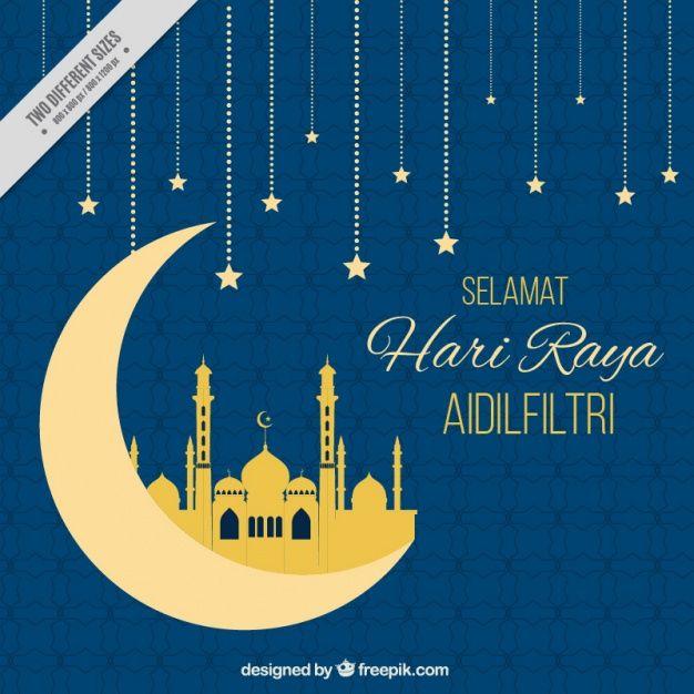 Lade Hari Raya Blauen Hintergrund Mit Mond Und Sterne Kostenlos Herunter Blue Backgrounds Eid Card Designs Vector Free
