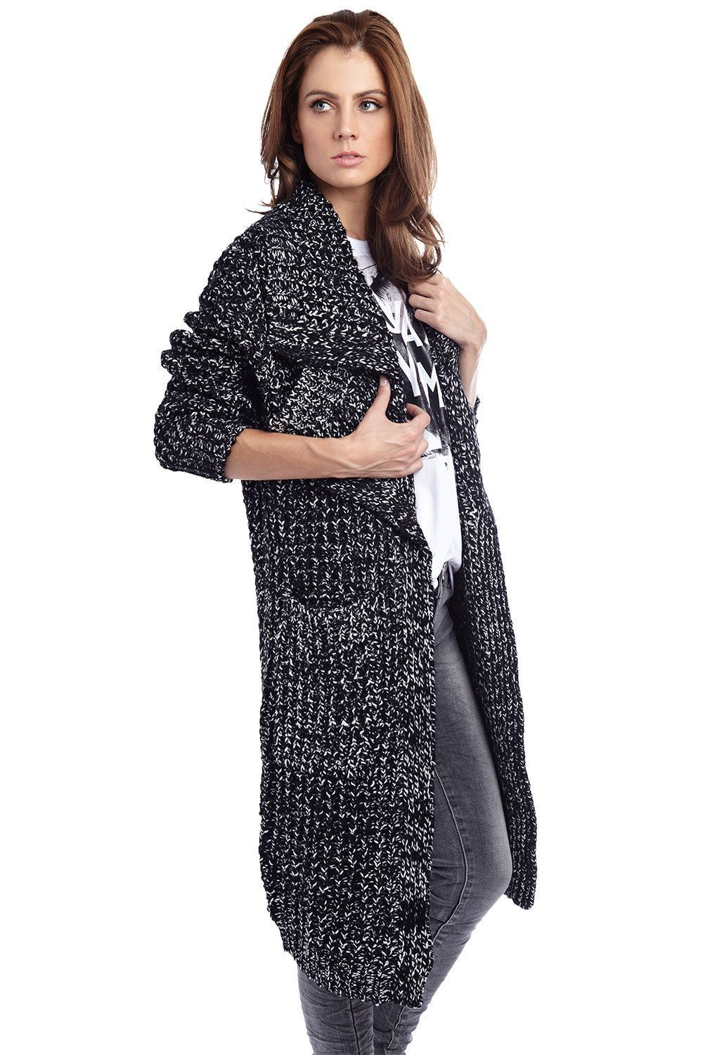 Black longline pocket knit coat
