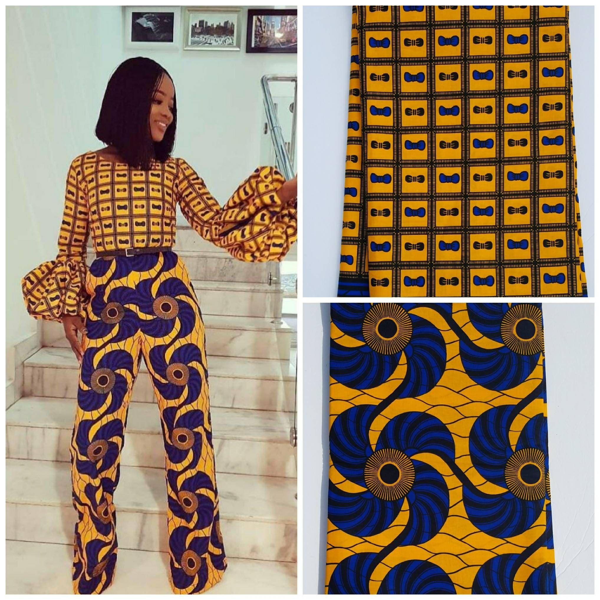 Beschreibung Gelb Und Blau Afrikanischen Stoff Diese