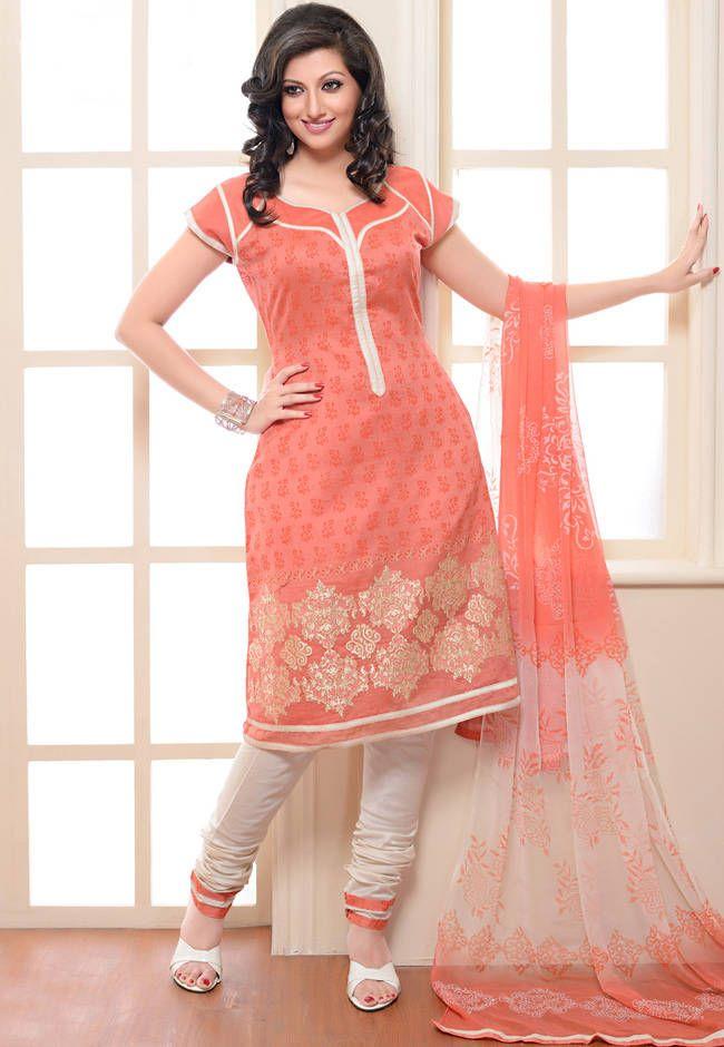 9227a3f3ab Buy Light Peach Chanderi Silk Churidar Kameez With Dupatta online ...
