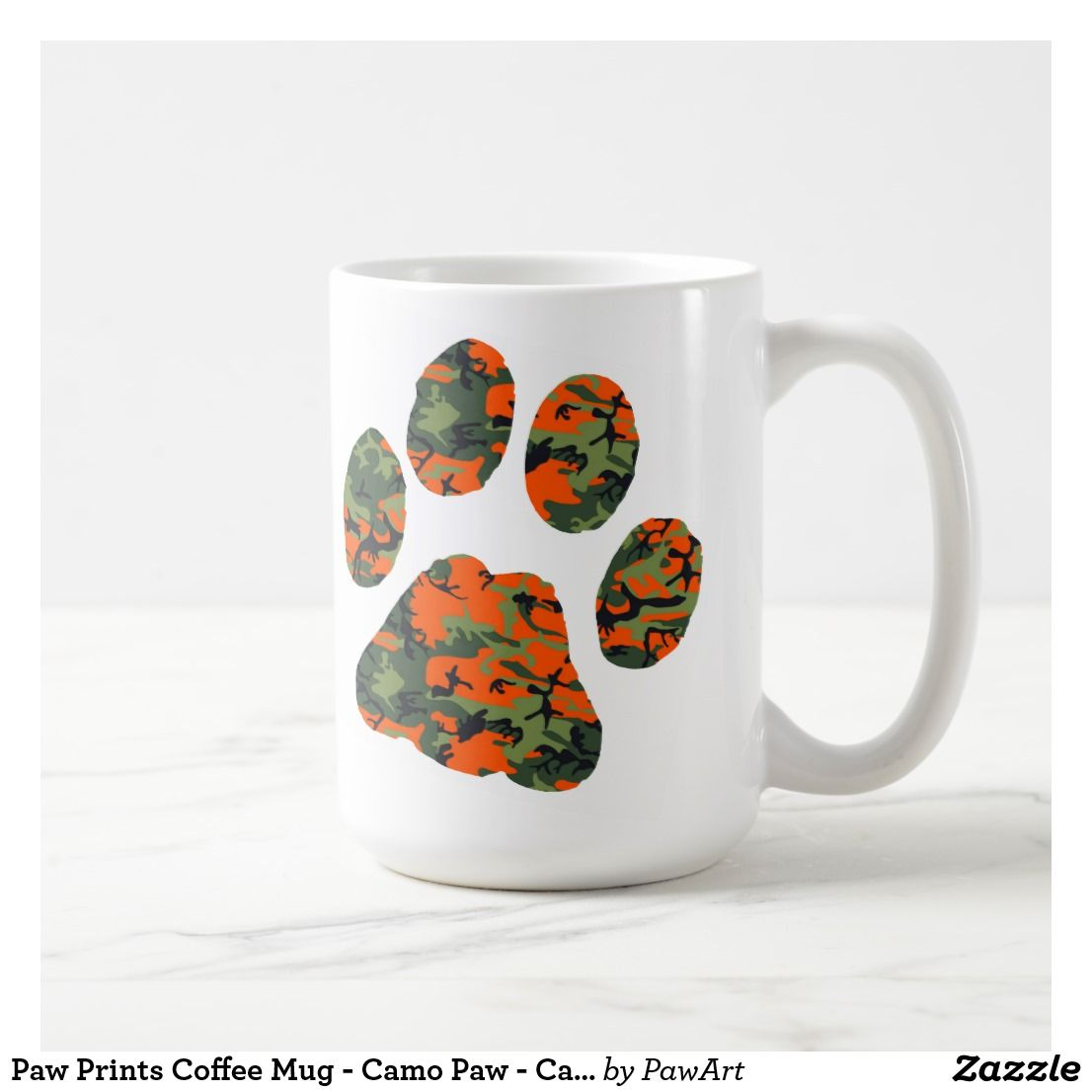 Paw Prints Coffee Mug Camo Paw Camouflage