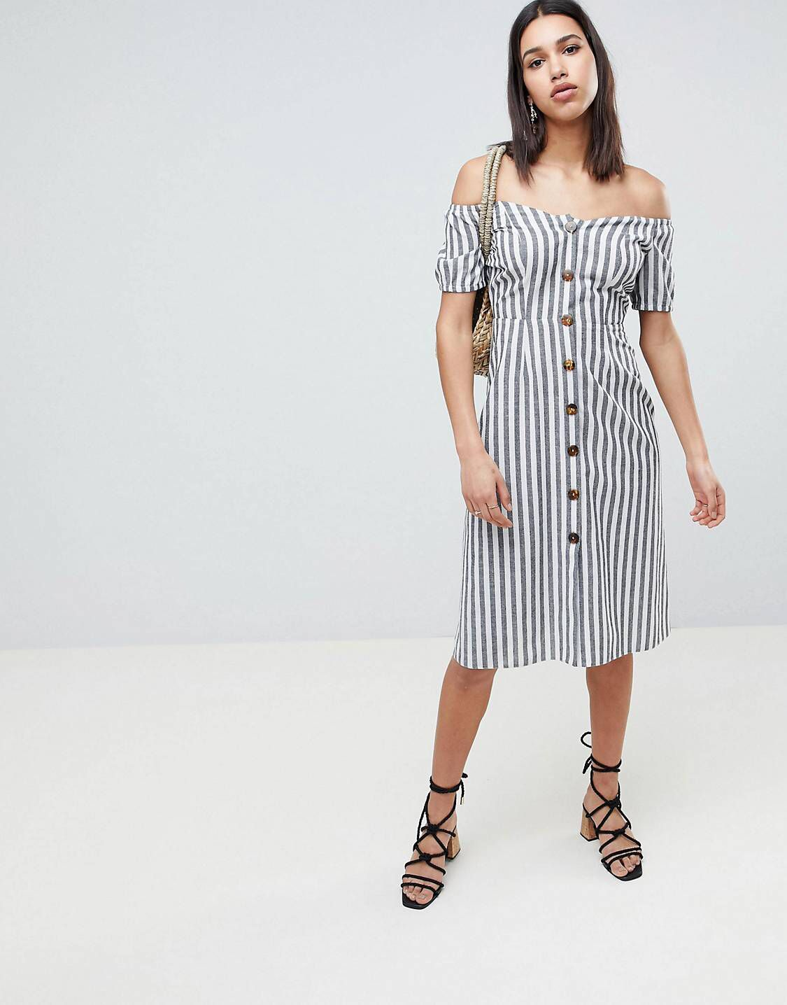 2aada8726a7 ASOS DESIGN Button Through Midi Off Shoulder Dress In Stripe