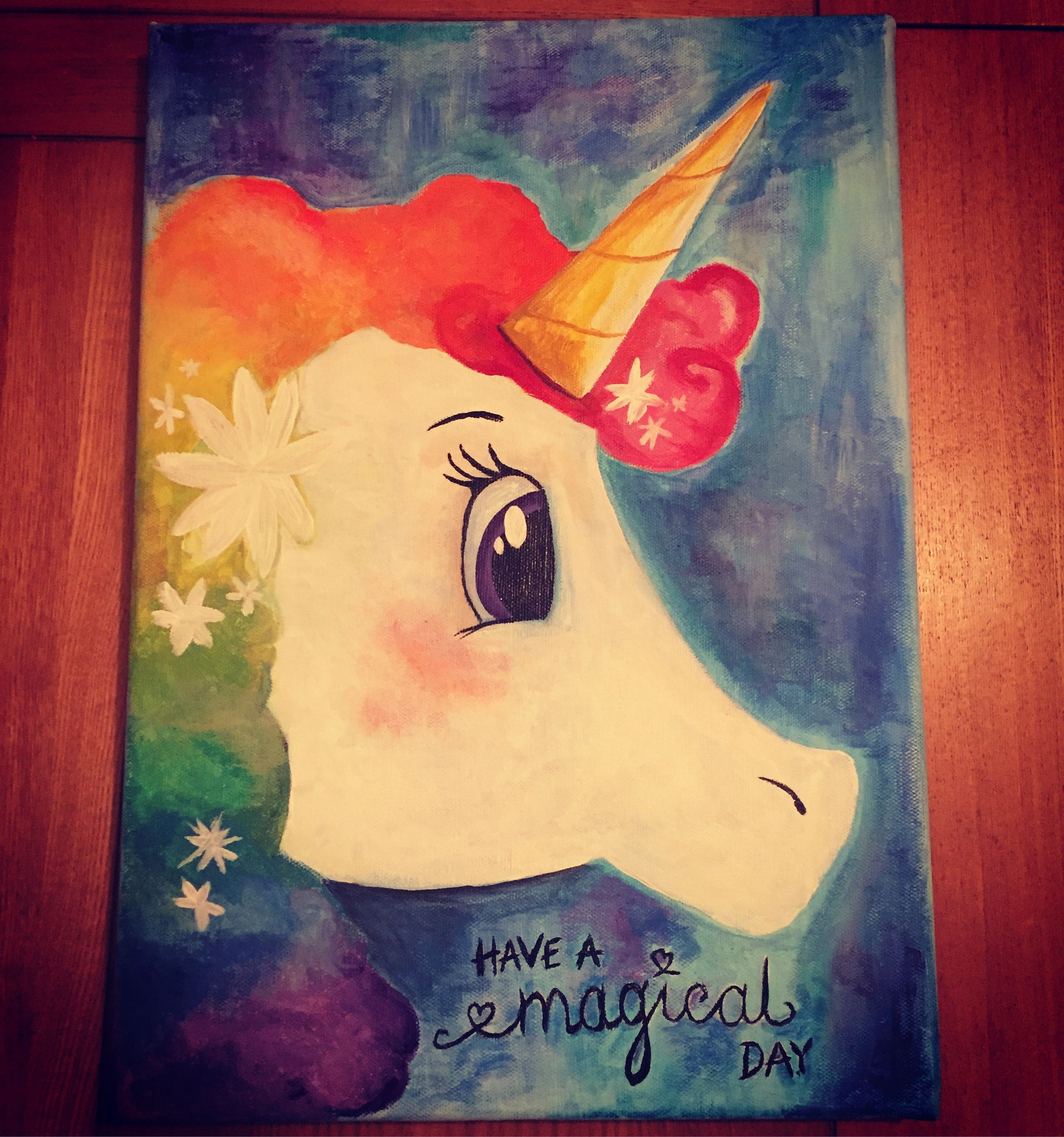 Unicorn painting acrylic paint on canvas painting ideas for Canvas ideas