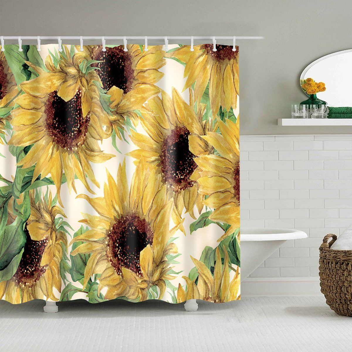 Daisies and Wooden Board Shower Curtain Complete Bathroom Set Waterproof