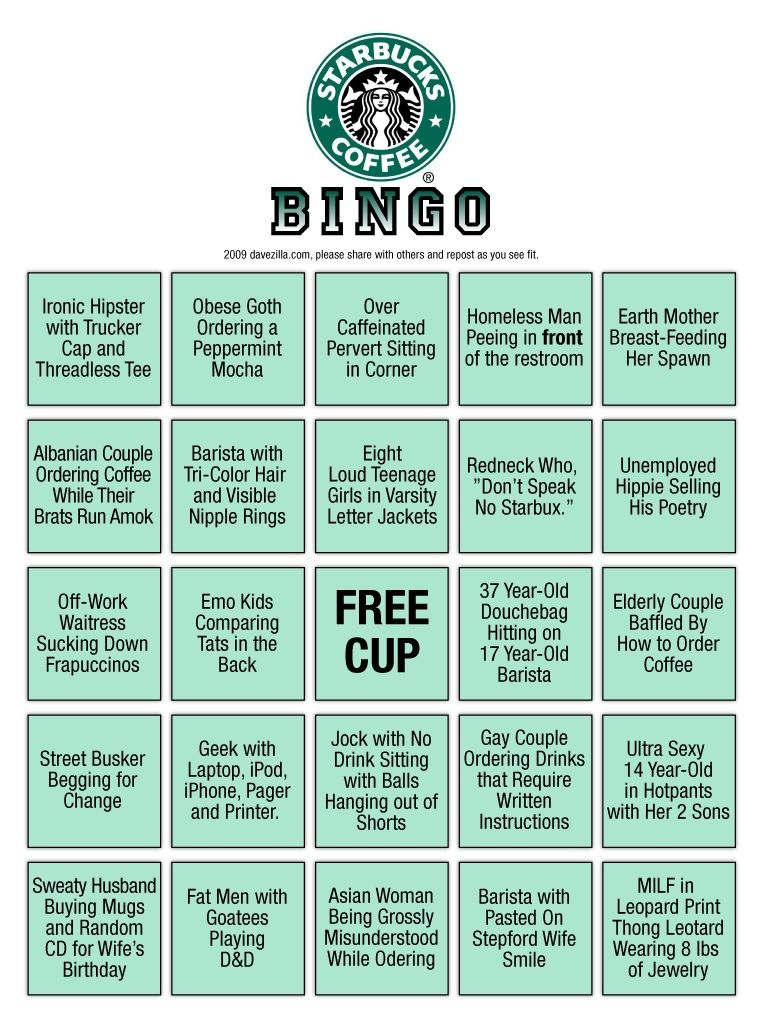 Starbucks bingo | Bingo for all occasions | Pinterest | Starbucks