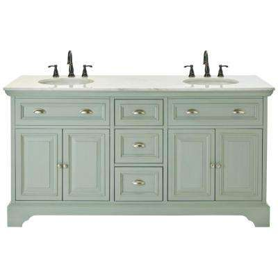 Sadie 67 In Double Vanity In Antique Light Cyan With Marble Vanity Top In Natural White Double Vanity Bathroom Home Depot Bathroom Home Depot Bathroom Vanity
