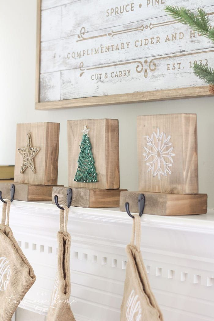 DIY String Art Christmas Stocking Holders #stringart