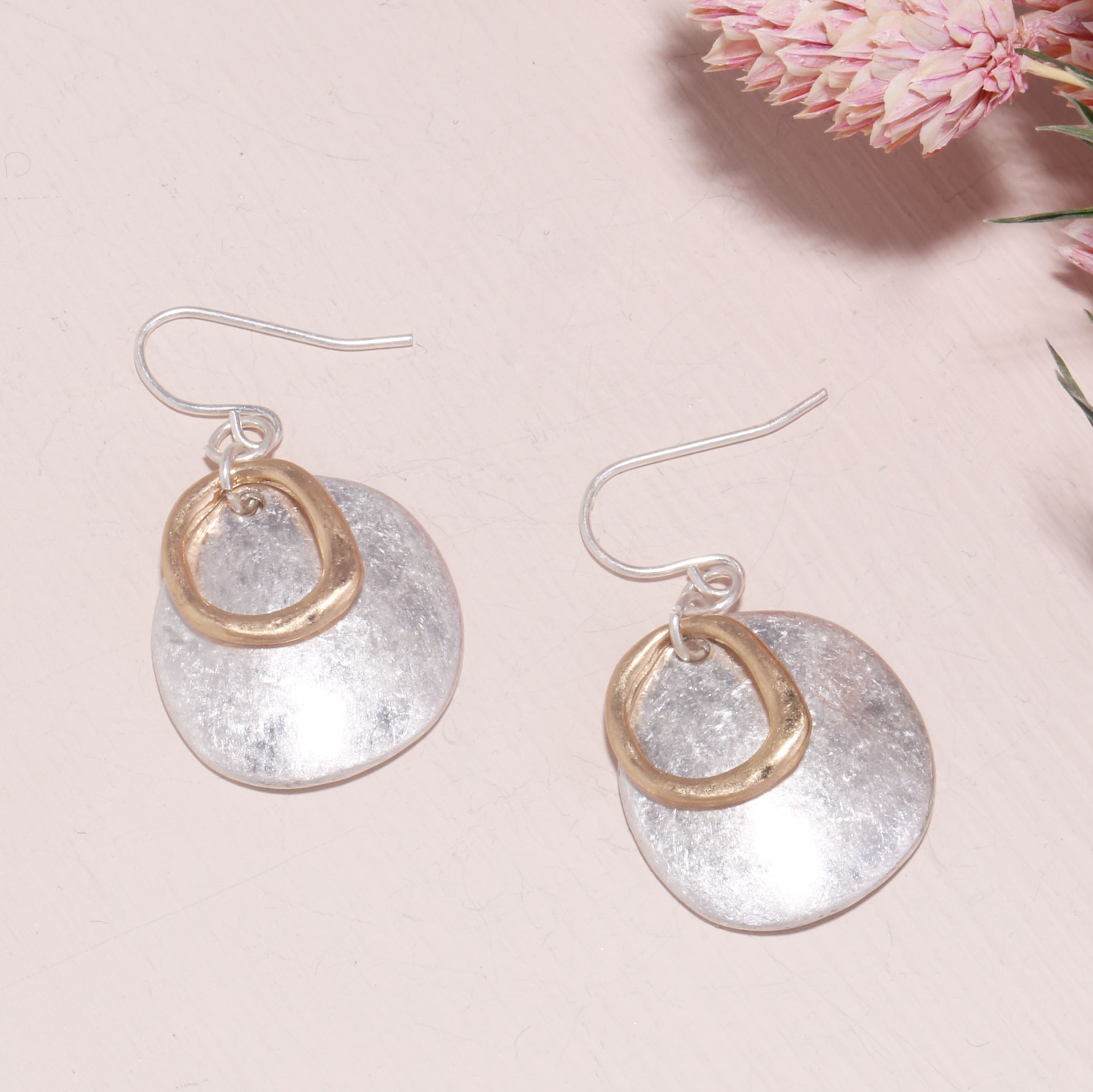 Vintage Geometric Double Layers Large Circle Ear Stud Drop Dangle Hook Earrings