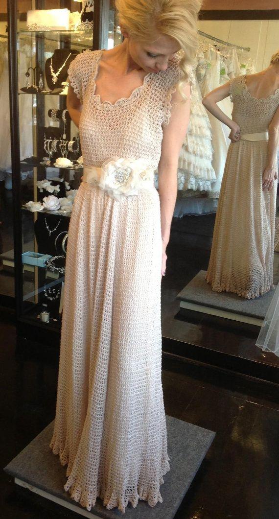 Bohemian knit wedding dress and hooded bolero by