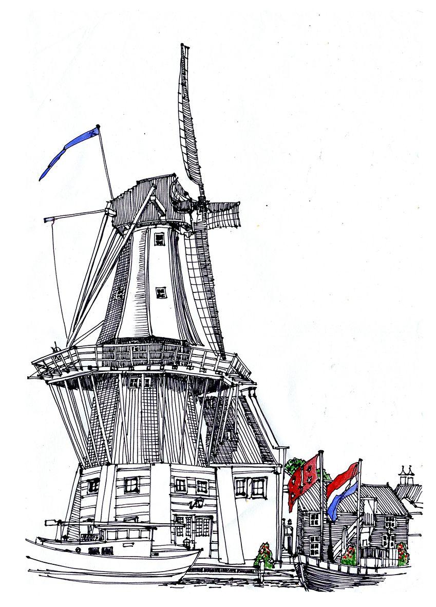 Kleurplaten Watermolen.Haarlem Spaarne Molen De Adriaan Anne Rose Oosterbaan
