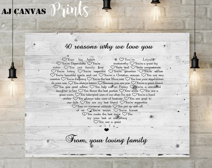 40 reasons I love you gift, birthday gift for mom, gift from son in ...