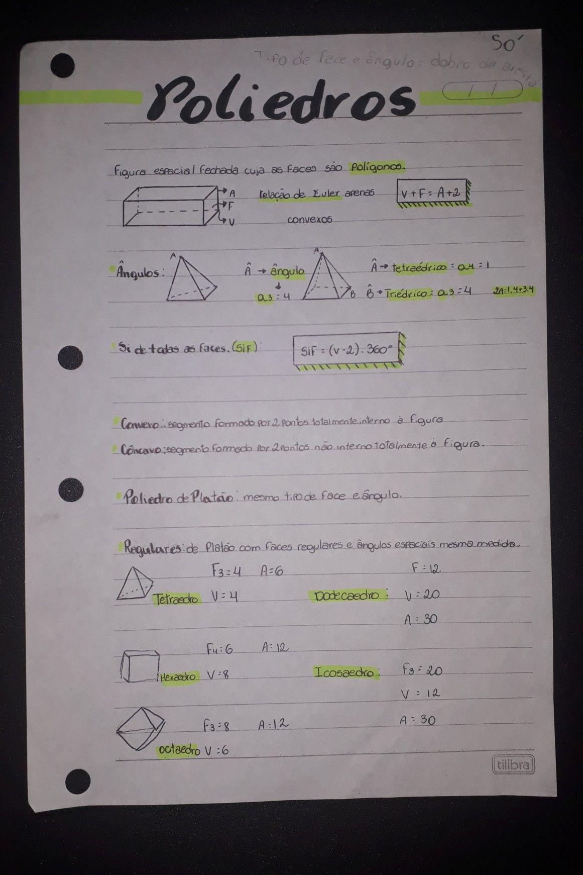Poliedros Rotina De Estudos Ideias Para Cadernos Formulas