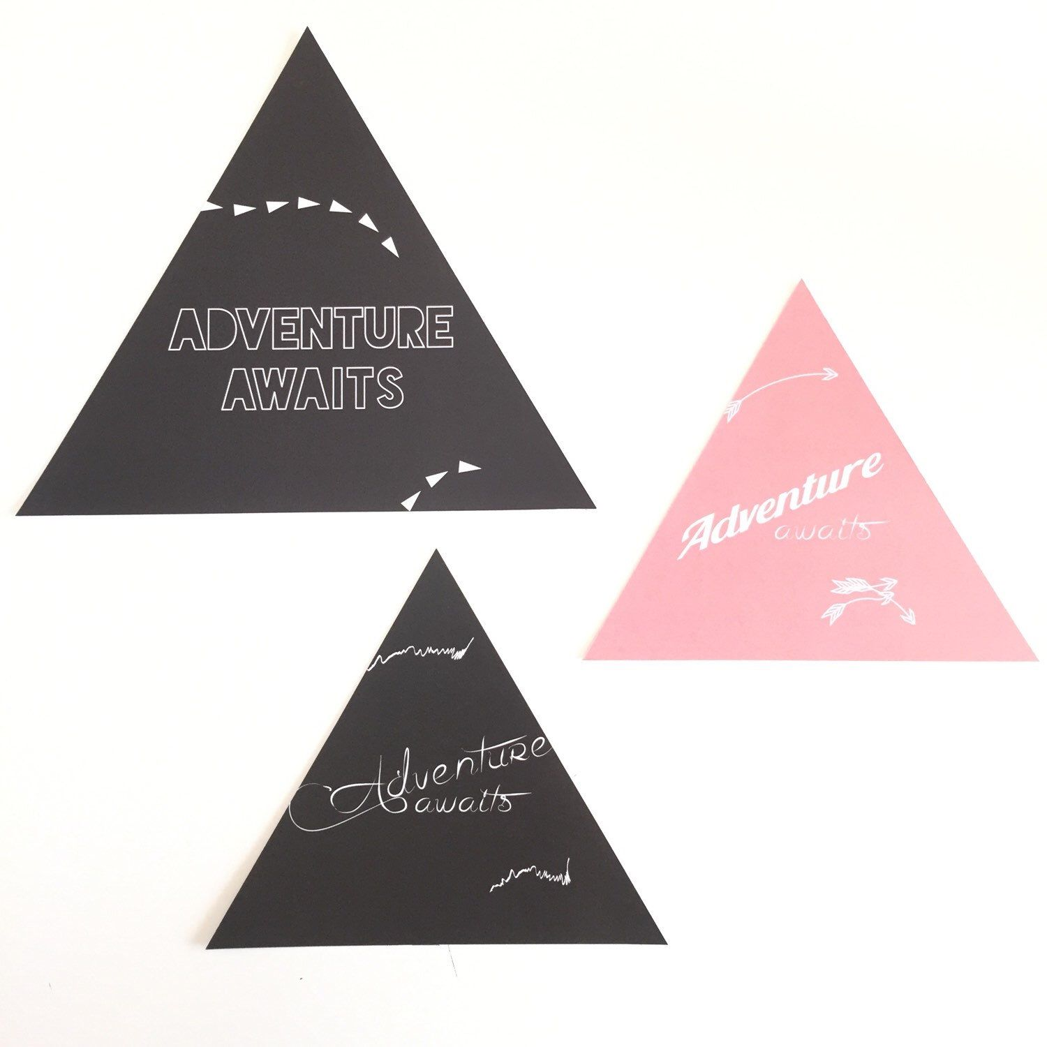 A personal favourite from my Etsy shop https://www.etsy.com/au/listing/257713295/adventure-awaits-triangular-print-with