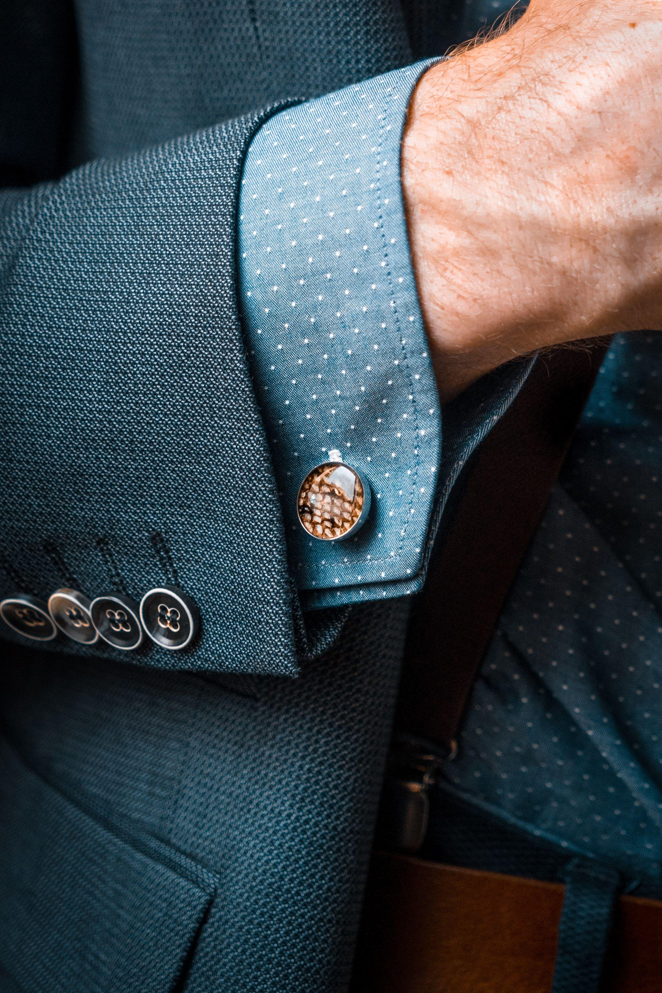 Blue Green Leather Cufflinks