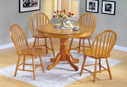 5pc Country Style Oak Finish Wood Round Dining Table And 4 Windsor Chair Set By Acme Furn Kitchen Table Settings Round Kitchen Table Set Country Kitchen Tables