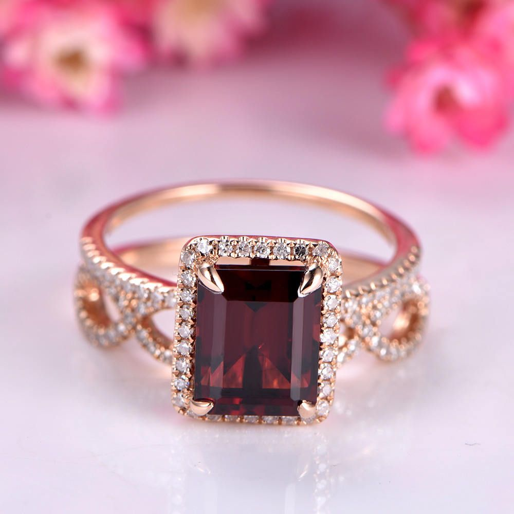 Emerald Cut garnet ring set garnet engagement ring diamond wedding ...