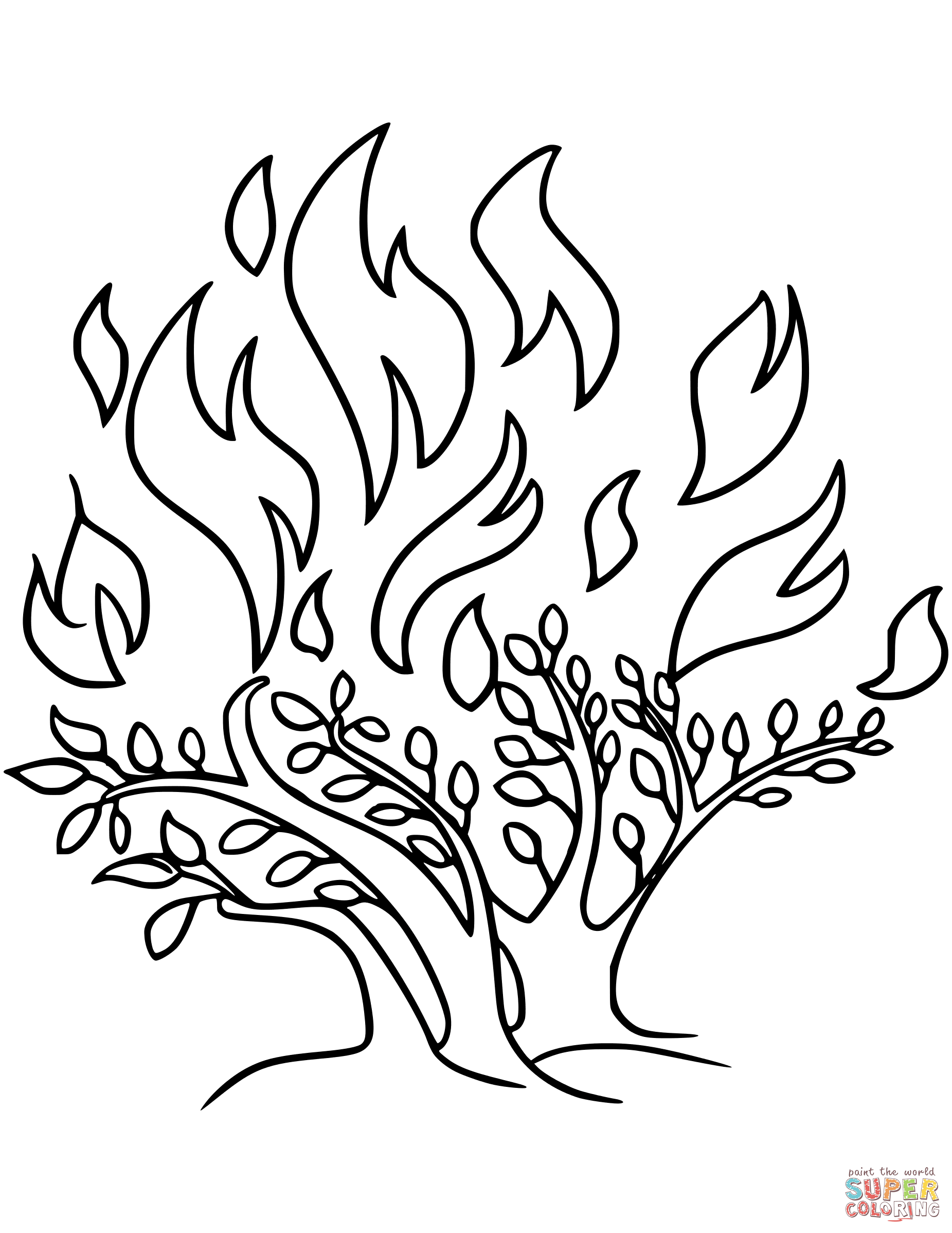 burning brush picture | The Call Of Moses Colouring Pages Burning ...