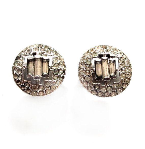 Vintage Art Deco Rhinestone Earrings