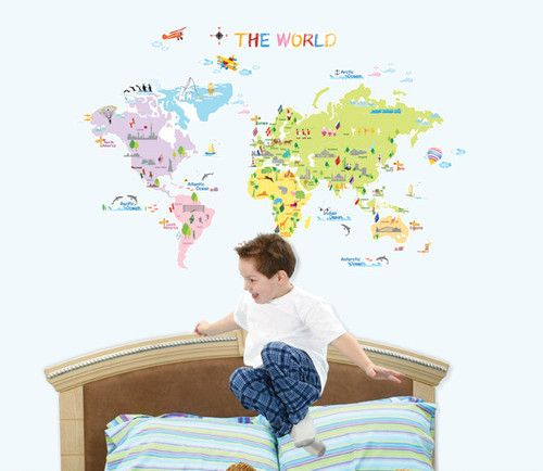 World map eco friendly removable wall decal vinyl print sticker kids world map eco friendly removable wall decal vinyl print sticker kids nursery ebay gumiabroncs Image collections