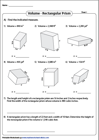 Volume Of A Rectangular Prism Printable Worksheets Rectangular Prism Volume Worksheets Measurement Worksheets