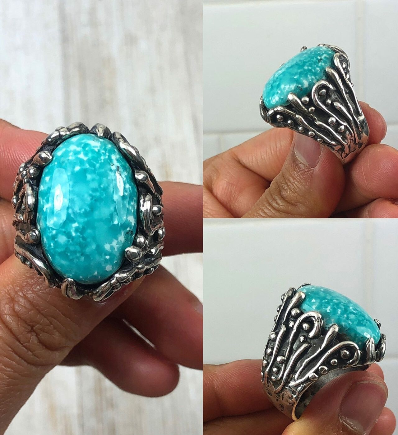 Various Sizes Navajo Various Turquoise Prayer Fan Rings by R.Jaque 838M