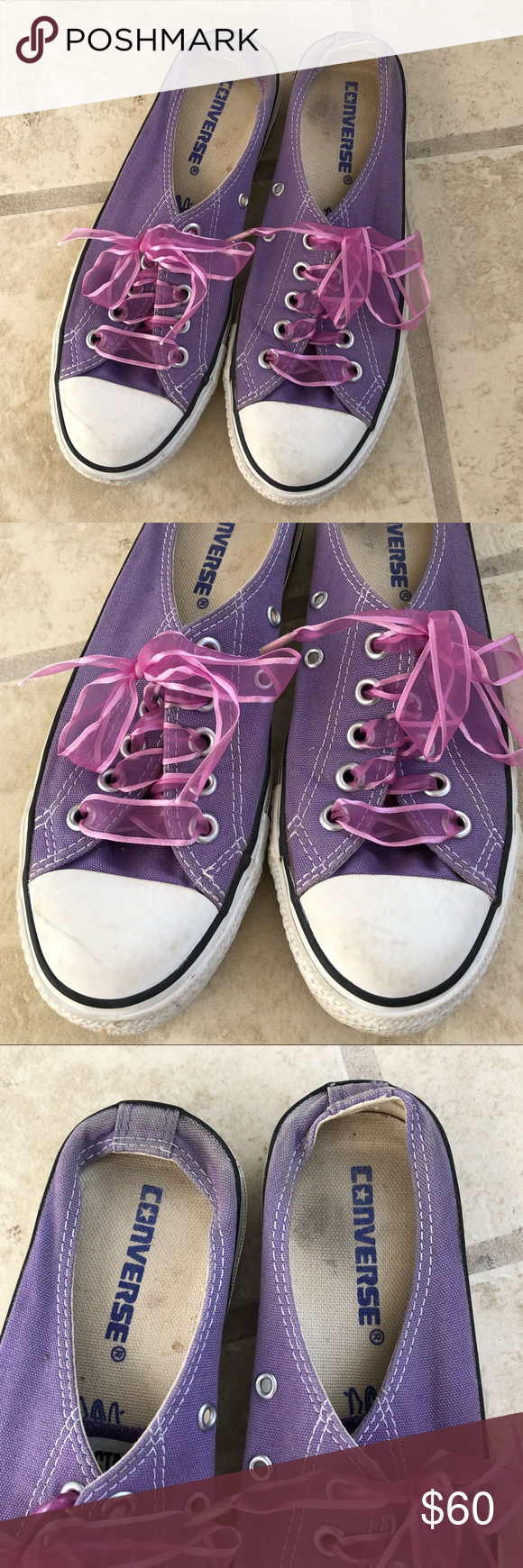 fc1d8d48a667 Rare Vintage Converse Slip On Mule Vintage Converse Mule in a violet color  with ribbon laces. Some minor wear- please view all photos These don t come  ...