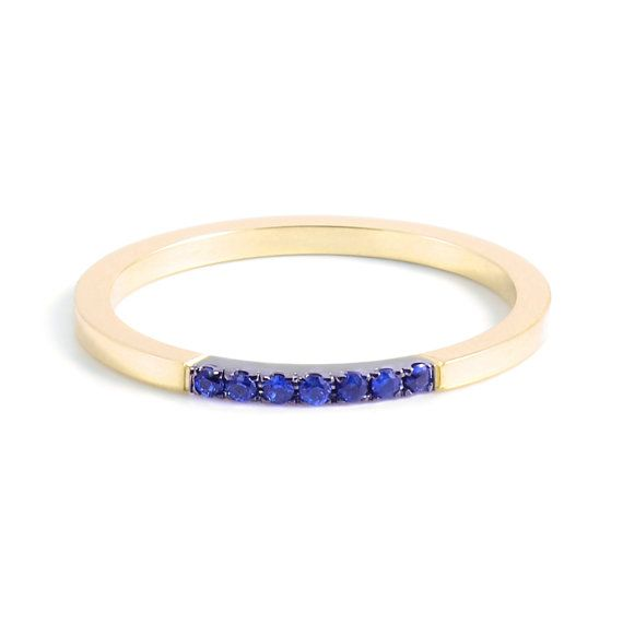 Handcrafted Stackable Wedding Band in 14k Yellow Gold, stacking ring, promise ring, wedding band, handmade ring, gold with sapphires