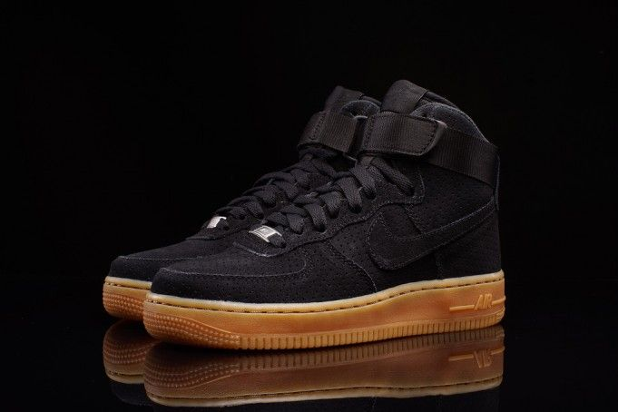 all black nike shoes high top gum sole shoes 950922