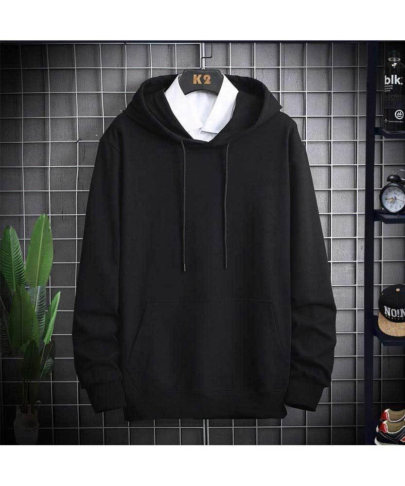 Black Simple Plain Color Pull Over Hoodies Hoodies Black Long Sleeve Sweatshirt Stylish Hoodies Men