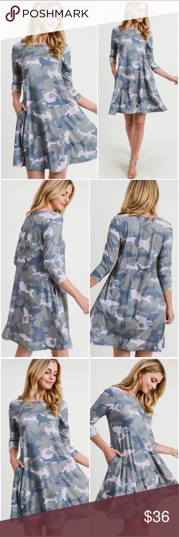 """Camo shark print dress, sooo cute! A fave! Super soft perfect little dress. great to run around town in, work, party, anything. so cute, can pair with sandals, pumps, sneakers, boots or booties.  round neck two side seam pockets! falls above knee in an a-line silhouette very soft and comfortable fabric with stretch model wears a small with measurements 5'9"""" 34Dx24 x25  95%poly/5%spandex handwash cool with tumble dry low Yelete Dresses #dresseswithsneakers"""