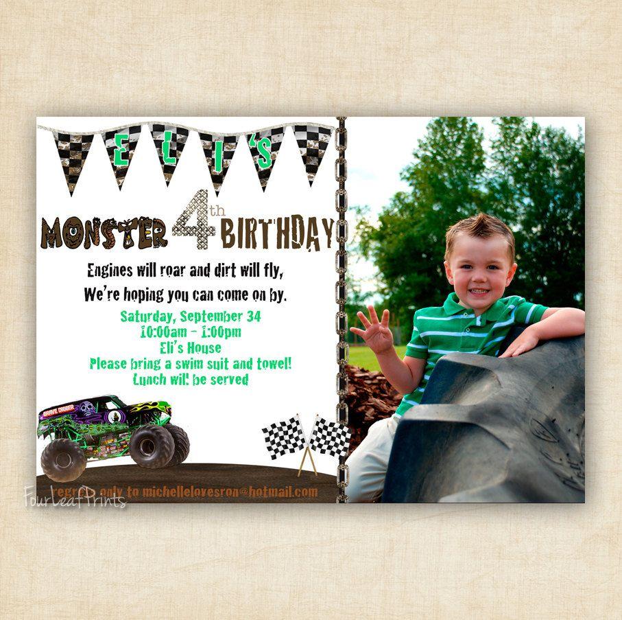 Monster Truck Birthday Invitation Printable by FourLeafPrints
