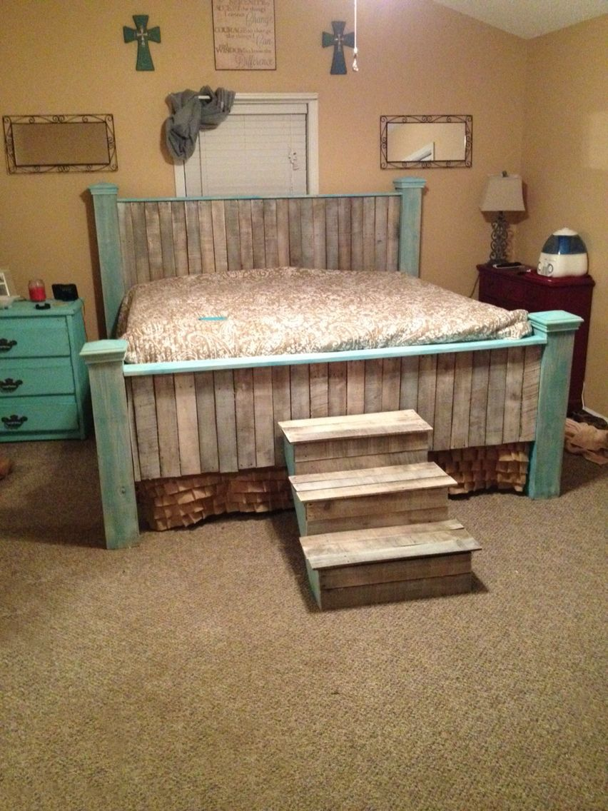 Teal whitewashed farmhouse pallet King bed and stairs diy Branden ...