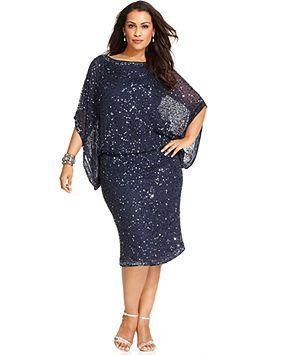 Nice Macy Formal Dresses Patra Plus Size Kimono Sleeve Beaded Dress Mother Of The