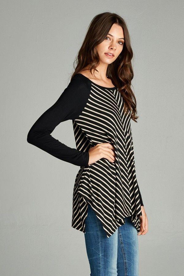 """Jerri"" V Striped Tunic"