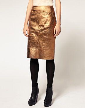 metallic gold pencil skirt