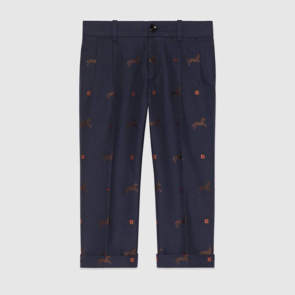 Gucci Children's horse gabardine pant #horsepattern