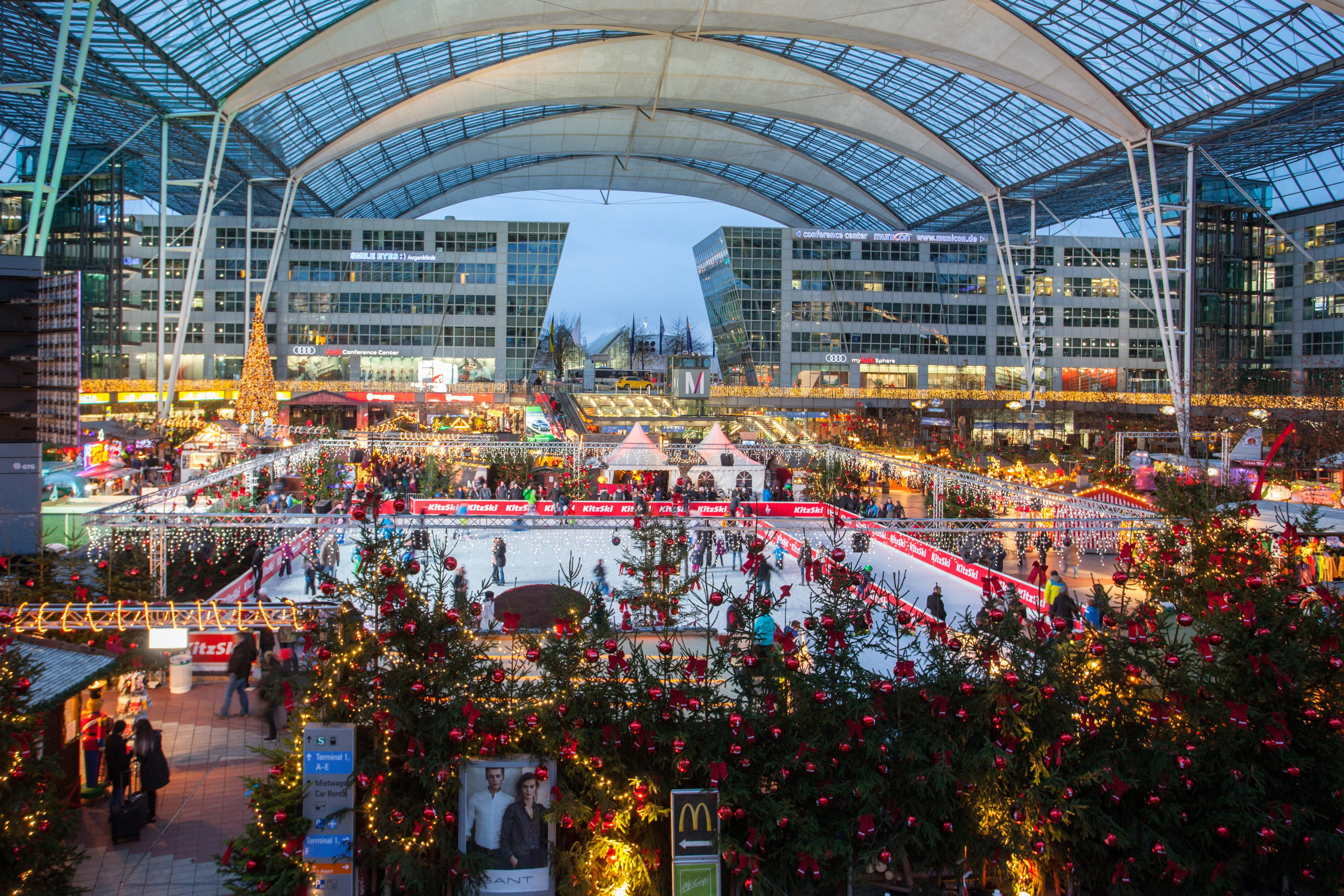 Munich Airport Has A Christmas Market With Two Ice Rinks