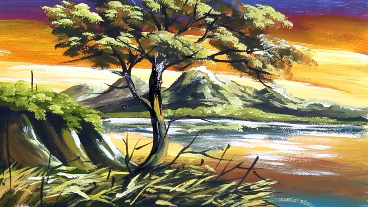 Acrylic Scenery Painting Hills Painting Landscape Techniques Scenery Paintings Landscape Paintings Poster Color Painting