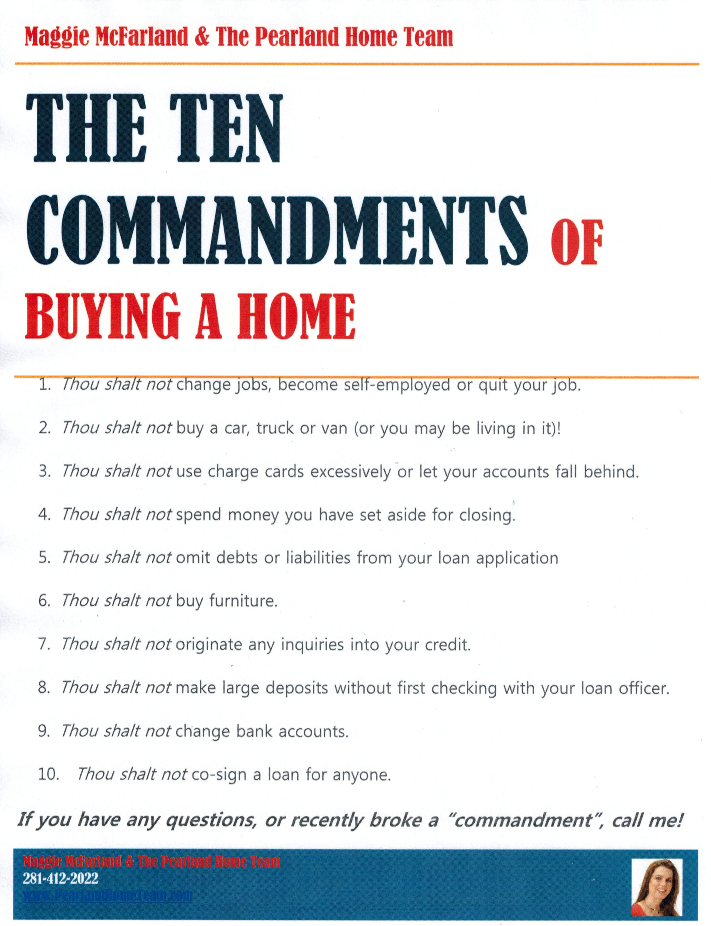 The 10 Commandments of Buying a Home homebuyer