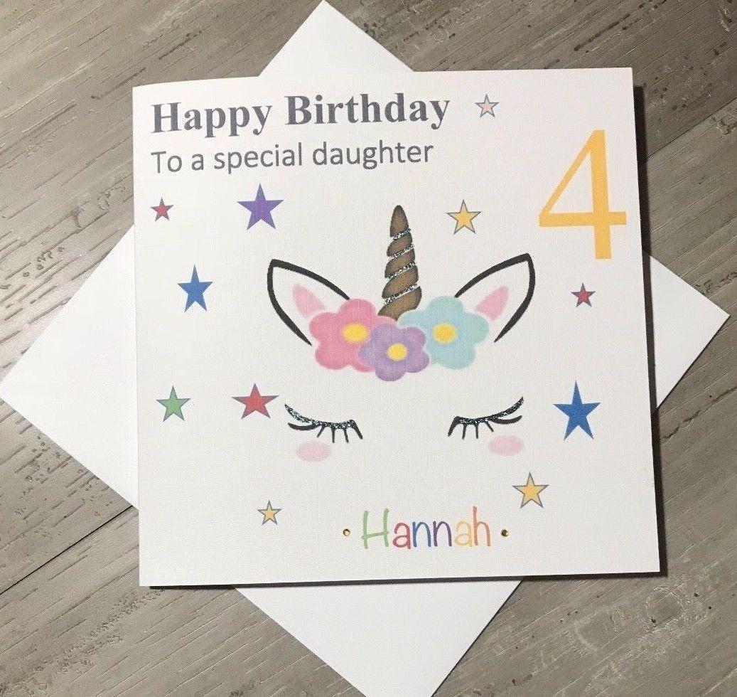Handmade PERSONALISED Pink Unicorn Girls Kids Childrens Birthday Card