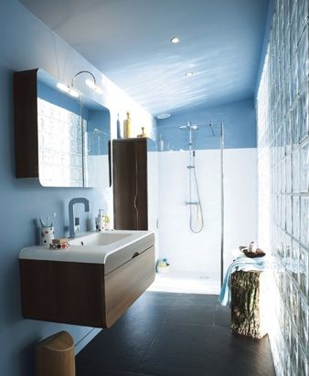 Salle de bain bleu et blanc ambiance institut projets for Carrelage salle de bain bleu et blanc