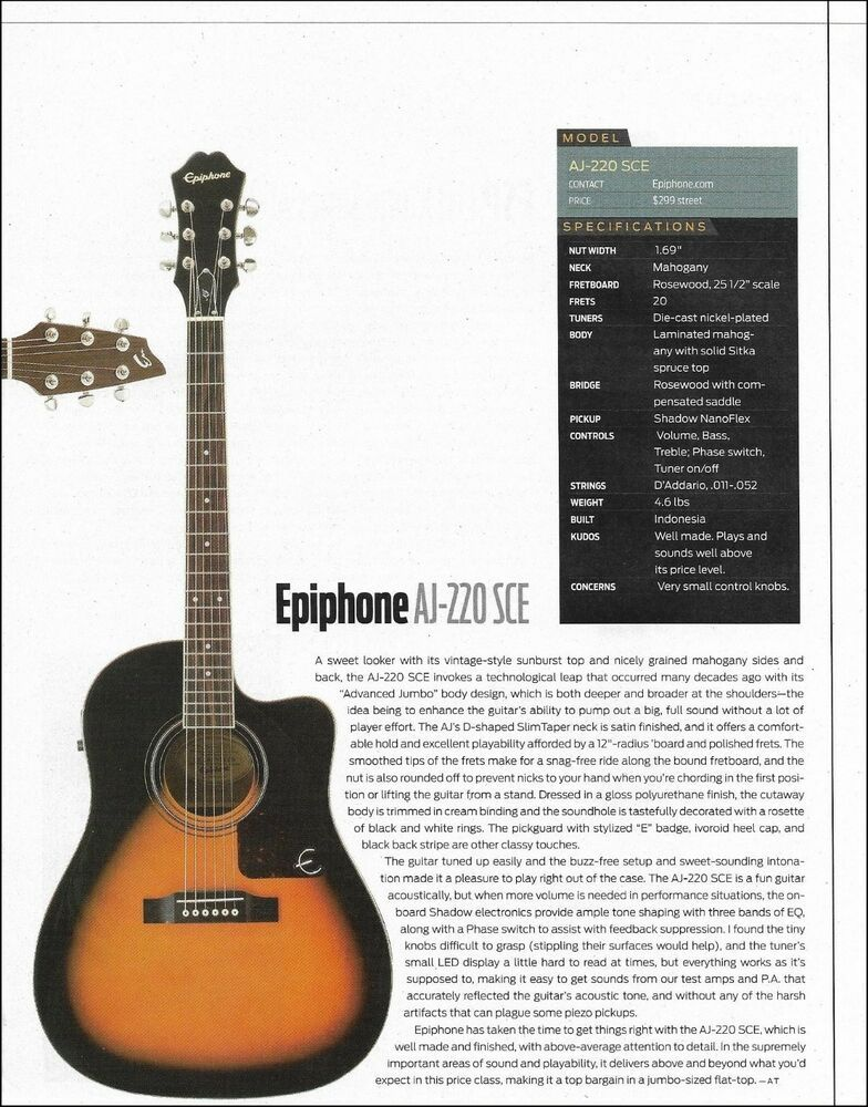 Epiphone Aj 220 Sce Acoustic Guitar 8 X 11 Sound Check Review Article With Specs Epiphone In 2021 Epiphone Acoustic Guitar Guitar