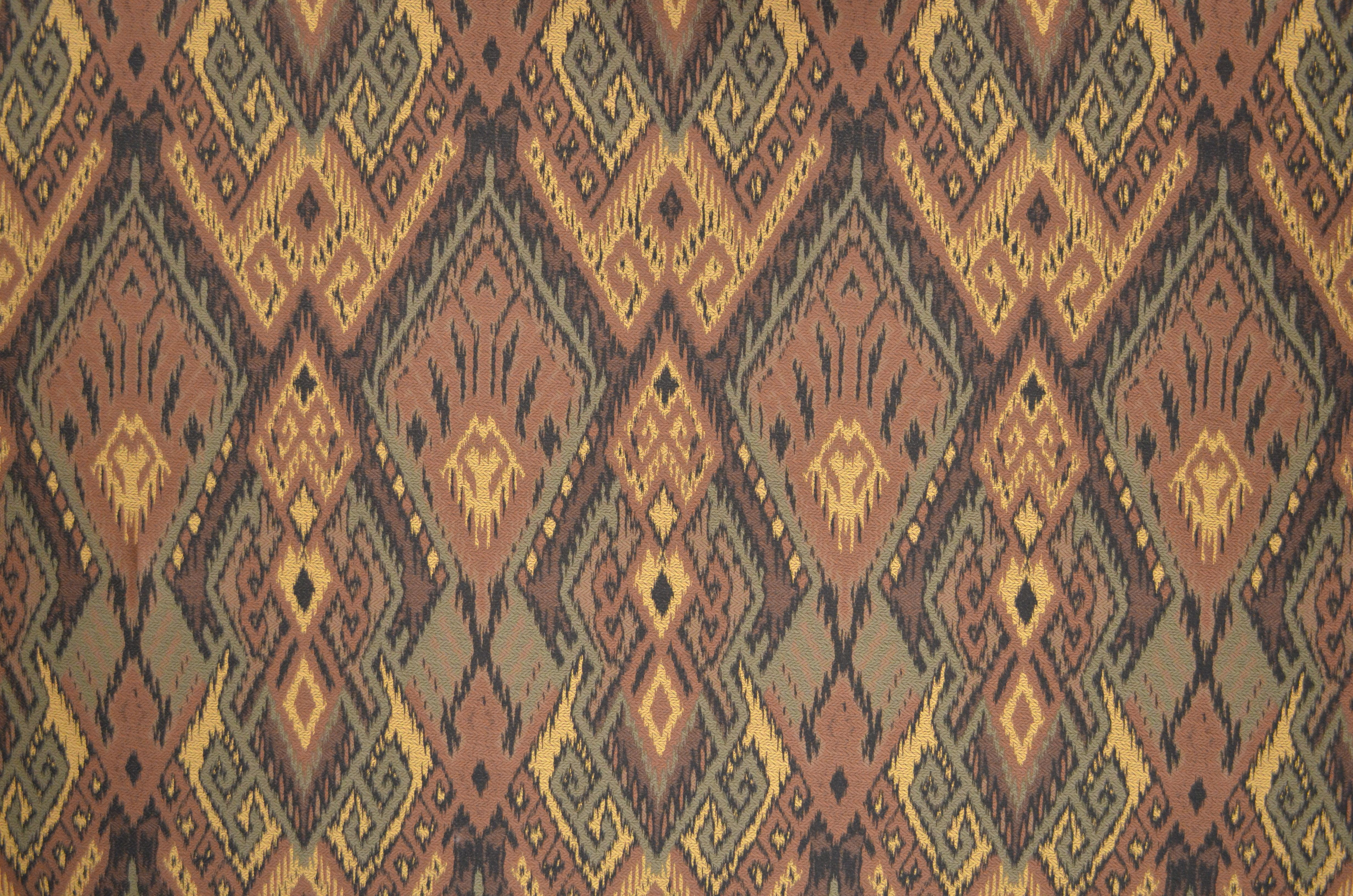 """Pattern: Ikat Color: Earth Contents: 30% Cotton 70% Viscose Size: 54"""" Wide Available Colors: Earth, Ruby  Notes: Vrpt: 25"""" 25,000 drbs Made In Italy Exclusive"""